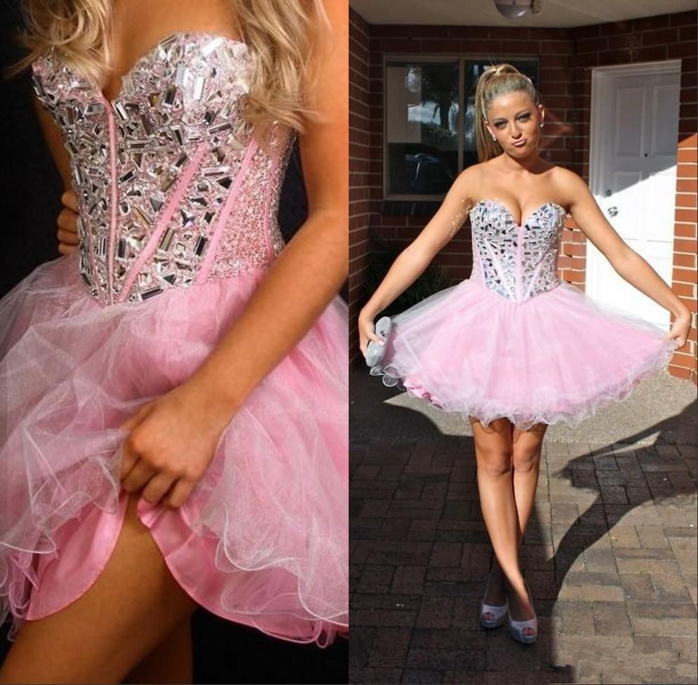 Lace-up Knee Length Short Pink Prom Dress For 17 Years Girl on Luulla