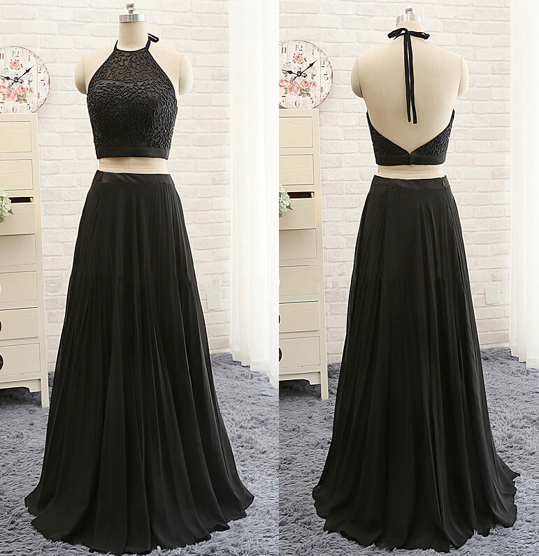 2516fe68adc Black Two-Piece Floor Length Prom Dress featuring Lace Halter Neck Crop Top  with Open Back and Long A-Line Skirt