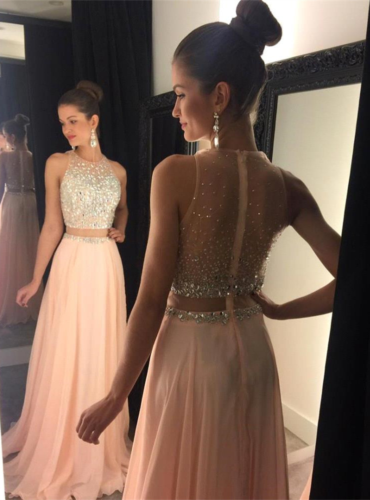 Peach Sequin Top One Piece Cheap Inexpensive Chiffon Prom Dress 2017