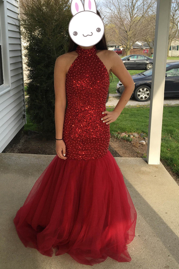 Ruby Beaded Open Back Mermaid Long 2017 Simple Prom Dress For High