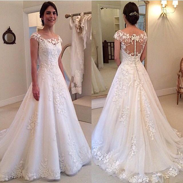 Lace Wedding Dress, Cap Sleeves Button Back A Line Floor Length ...