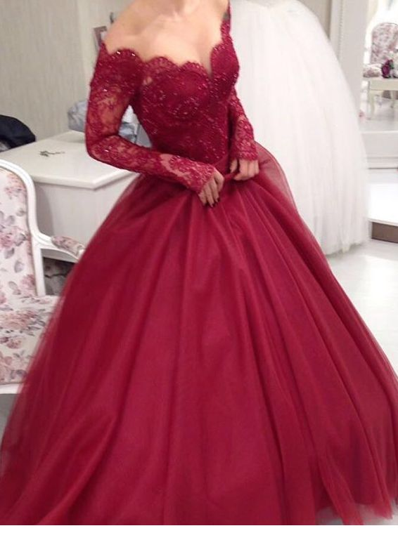56713721351c Off The Shoulder V Neck Lace-up V Back Long Sleeves Red Ball Gown Lace Prom  Dress 2017