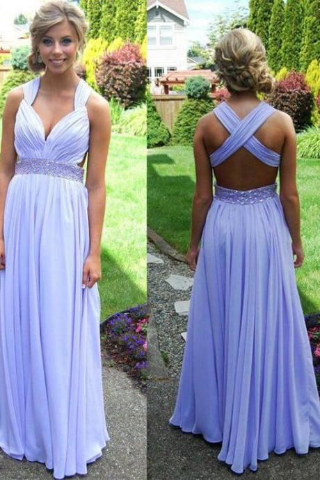 Lavender Long Chiffon Prom Dress 2017