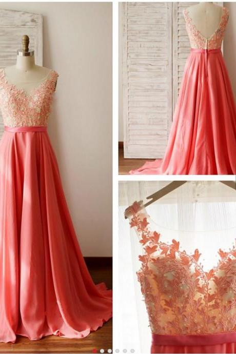 Coral Zipper Back Long Chiffon Prom Dress 2017