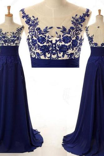 Navy Lace Appliques Scoop Neckline Tulle Top Chiffon Skirt Long Prom Dress with Keyhole Back