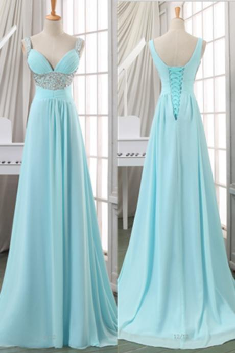 Light Blue V Neck Lace-up Beaded Long Chiffon Prom Dress 2017