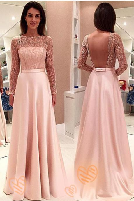 Pink Backless Long Sleeve Long Prom Dress 2017